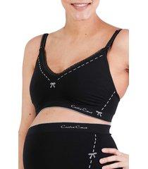 women's cache coeur illusion seamless maternity/nursing bra, size medium - black