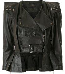 andrea bogosian peplum hem biker jacket - black