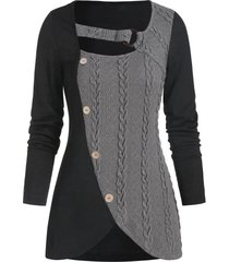 cable knit mock button o-ring contrast sweater