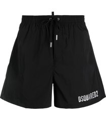 dsquared2 icon metallic-logo drawstring swim shorts - black