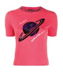 just cavalli camiseta slim com estampa de planeta em paetês - rosa