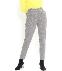 pantalón a cuadros vichy blanco y negro, tiro alto, tipo skinny, bolsillos laterales color-multicolor-talla-14