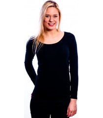 rj bodywear ladies t-shirt long sleeves black