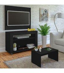 sala de estar completa para tv até 32 polegadas cristal preto - artely