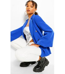 extreme puff sleeve double breasted blazer, cobalt