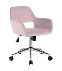 cadeira de escritório secretária giratória ross rosa aveludado