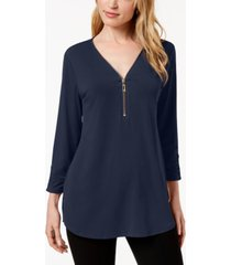 jm collection zipper-trim 3/4-sleeve top, created for macy's