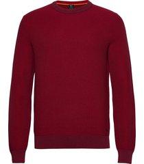 arubyno stickad tröja m. rund krage röd boss
