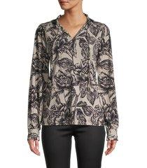 calvin klein women's tie-neck floral blouse - khaki black - size s