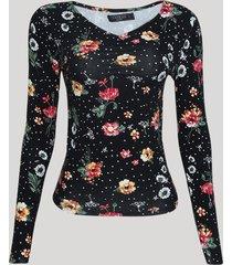 blusa feminina estampado floral manga longa decote v preto