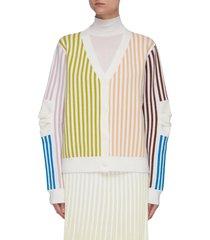 cannon oversized colourblock stripe merino wool cardigan