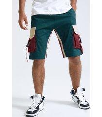 hombres 100% algodón cómodas cintas laterales hebilla bloque de color patchwork cordón carga shorts