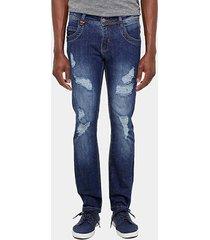 calça jeans skinny zune super rasgada stone masculina