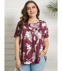 talla grande redonda cuello botón tropical diseño camiseta de manga corta