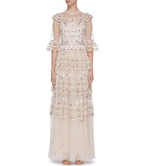 'eden' floral embroidered sequin embellished lace trim ruffle tiered tulle gown