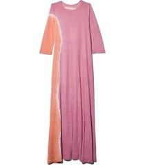 signature jersey half sleeve drama maxi dress in pink sunrise tie dye