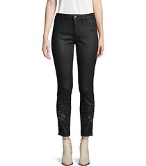 coated embroidered high-rise jeans