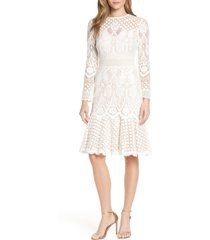 tadashi shoji long sleeve lace cocktail dress, size 16 in ivory/petal at nordstrom