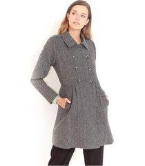 chaqueta tipo gabán color gris manga larga, de solapa y botones delanteros color-multicolor-talla-xl