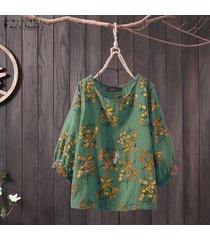 zanzea mujer linterna manga étnica vintage camisa tops blusa suelta jumper tops -verde