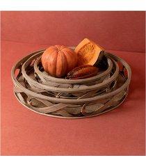 conjunto de cestas bambu e madeira amol cor: natural - tamanho: único