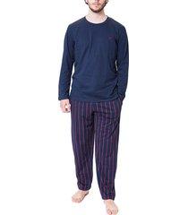 hom pyjama chinon blauw