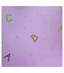 kit 3 rolos de papel de parede fwb abecedário colorido fundo rosa