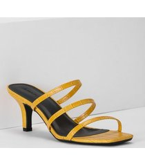 amaro feminino sandália 3 tiras slingback, amarelo