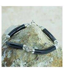 black jade link bracelet, 'natural connection' (guatemala)