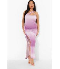 plus geplooide maxi jurk met eén blote schouder, lilac