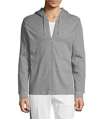 heathered full-zip cotton hoodie