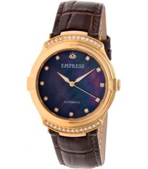 empress francesca automatic dark brown leather watch 35mm