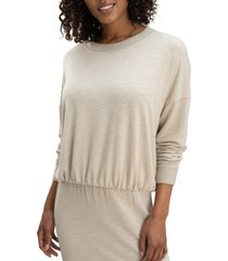 women's splendid bubble pullover, size large - beige