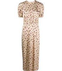 rotate raspberry-print dress - neutrals