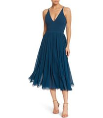 women's dress the population alicia mixed media midi dress, size small - blue
