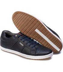 sapatenis couro tchwm shoes masculino autentico confortavel azul marinho - kanui