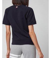 thom browne women's short sleeve sweatshirt top in cotton loopback - navy - it44/uk12