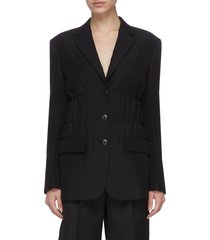 cinch waist single breast wool blend blazer