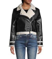 central park west women's faux fur-trim & lined faux leather moto jacket - black - size m