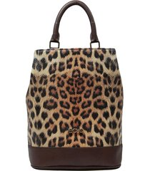 bolsa mochila de couro recuo fashion bag castor/onça