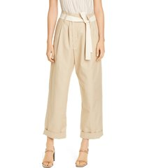 women's brunello cucinelli belted tapered cotton & linen pants, size 0 us / 36 it - beige