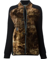 gianfranco ferré pre-owned panelled cardigan - black