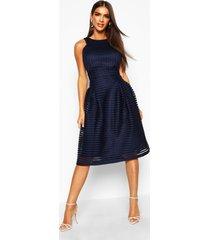boutique panelled full skirt skater dress, navy