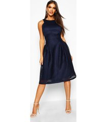 boutique panelled full skirt skater dress, navy