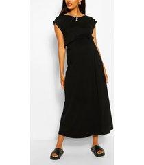 maternity cap sleeve shirred waist maxi dress, black