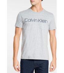 camiseta masculina com bolso cinza mescla - pp