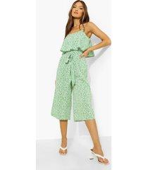 bloemen culotte jumpsuit met bandjes en ceintuur, green
