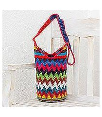 crocheted cotton bucket bag, 'design of colors' (guatemala)
