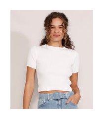 blusa de tricô feminina manga curta cropped canelada decote redondo off white