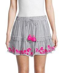 floral-embroidered stripe tassel mini skirt